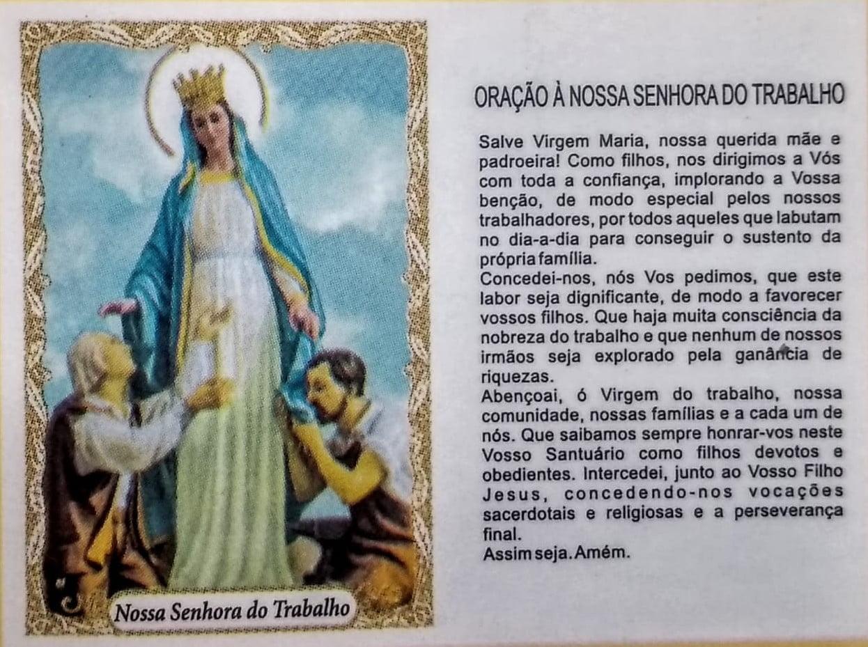 NOSSA SENHORA DO TRABALHO - PACOTE C/ 100 SANTINHOS DE PAPEL