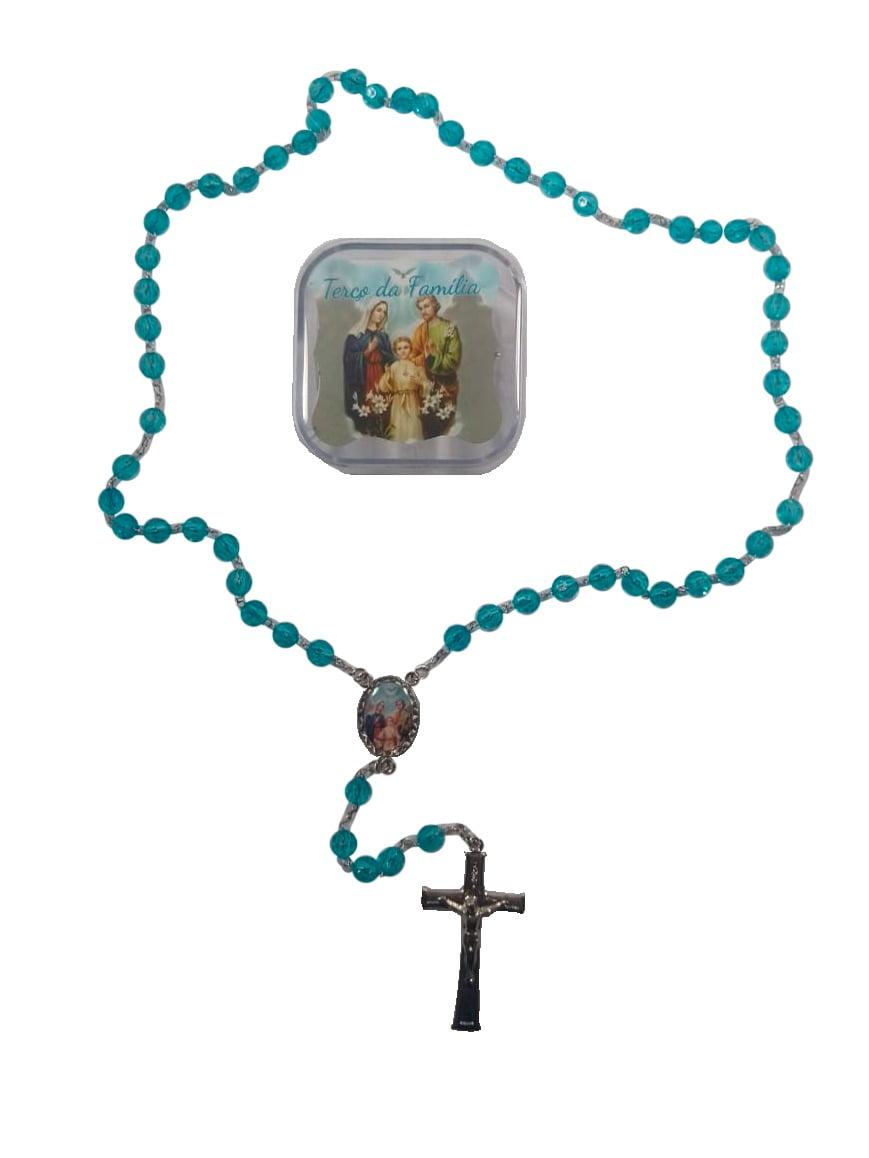Terço Acrílico Sagrada Família com Caixinha Resinada
